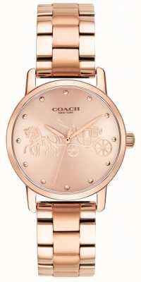 Coach Womens grand rose pulseira de ouro e relógio de caso 14502977