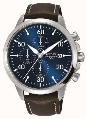 Lorus Relógio de cronógrafo para homem, pulseira de couro marrom, mostrador azul RM353EX9