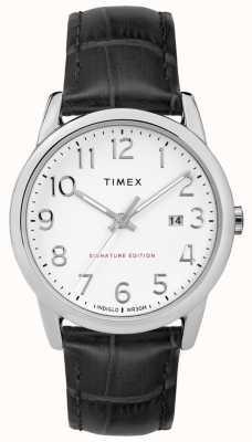 Timex Assinatura fácil do leitor com relógio de couro com data de 38mm TW2R64900