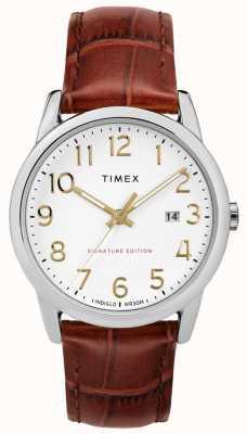 Timex Assinatura fácil do leitor com relógio de couro com data de 38mm TW2R65000