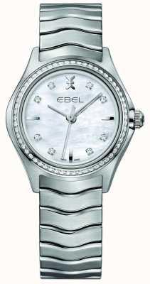 EBEL Onda 66 diamante conjunto de quartzo 30mm mãe de pérola relógio de senhoras 1216194