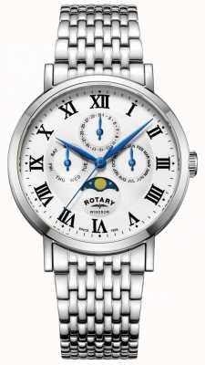 Rotary Mens windsor moonphase relógio pulseira de tom de prata GB05325/01