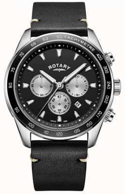 Rotary Mens henley assistir mostrador preto crono pulseira de couro preto GS05115/04