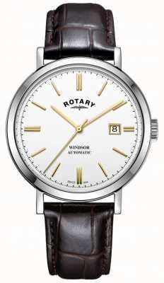 Rotary Mens windsor relógio tom de prata caso pulseira de couro branco de discagem GS05315/02