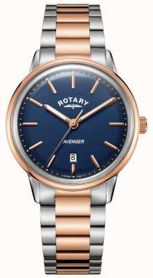 Rotary Mens avenger assistir dois tons pulseira mostrador azul GB05342/05