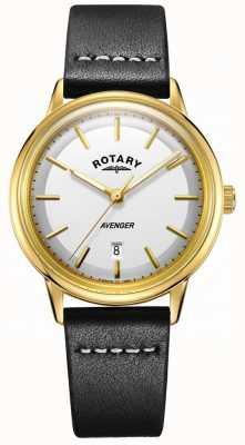 Rotary Mens avenger assistir mostrador branco tom de ouro caso pulseira de couro GS05343/03