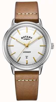 Rotary Mens vingador assistir tom de prata caso pulseira de couro tan GS05340/02