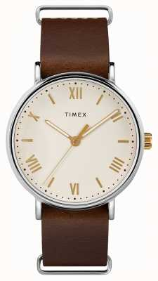 Timex Mens creme de cinta de couro marrom southview 41mm dial TW2R80400