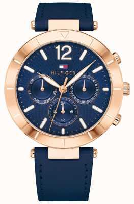 Tommy Hilfiger Womens chloe relógio dia data azul silicone armadilha 1781881