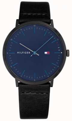 Tommy Hilfiger Mens james assistir pulseira de couro preto mostrador azul 1791462
