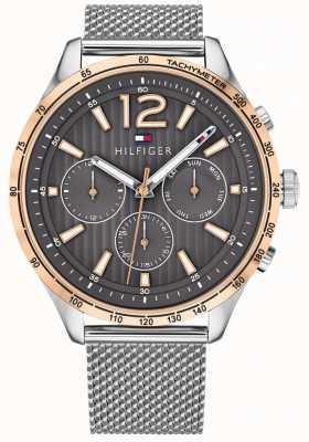 Tommy Hilfiger Relógio cronógrafo gavin masculino, pulseira de malha de aço prateado 1791466