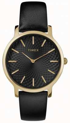 Timex Womens skyline 34 milímetros pulseira de couro preto mostrador preto TW2R36400