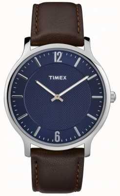 Timex Mens slim skyline 40mm prata caso marrom couro azul dial TW2R49900