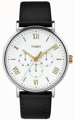 Timex Mens 41mm southview pulseira de couro preto mostrador branco TW2R80500