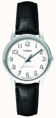 Timex Womens 30mm fácil leitor preto croc pulseira de discagem branca TW2R65300
