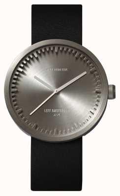 Leff Amsterdam Relógio de tubo d42 caixa de aço pulseira de couro preto LT72001