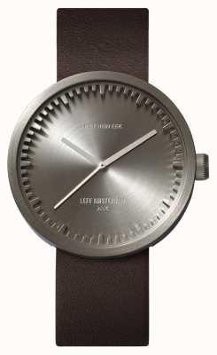 Leff Amsterdam Relógio de tubo d42 caixa de aço pulseira de couro marrom LT72002