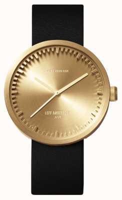 Leff Amsterdam Relógio de tubo d42 latão cinta de couro preto LT72021
