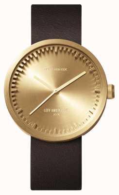 Leff Amsterdam Relógio tubo d42 latão pulseira de couro marrom LT72022