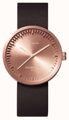 Leff Amsterdam D38 caso de ouro rosa pulseira de couro marrom LT71032