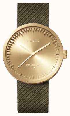 Leff Amsterdam Relógio de tubo d42 latão caso pulseira cordura verde LT72024