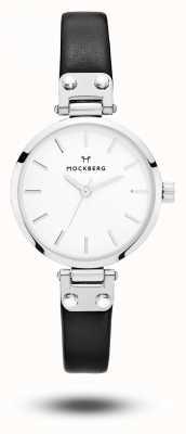 Mockberg Astrid pulseira de couro preto petite branco MO202