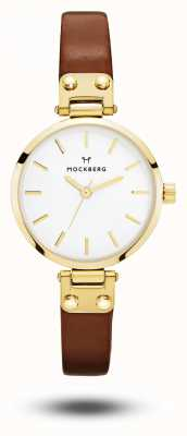 Mockberg Ilse pulseira de couro marrom petite branco MO208