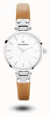 Mockberg Mostrador branco com pulseira de couro marrom wera petite marrom MO1404