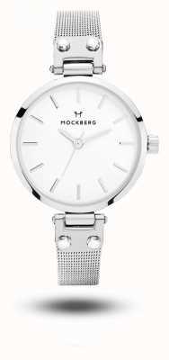 Mockberg Elise pulseira de malha de aço inoxidável petite branco MO402