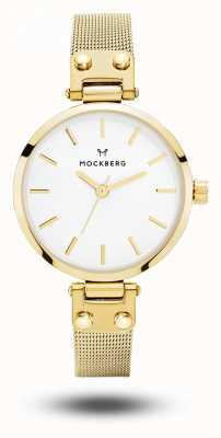 Mockberg Livia das mulheres petite pulseira de malha de ouro mostrador branco MO401