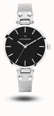 Mockberg Elise petite pulseira de malha de aço inoxidável noir pulseira preta MO404