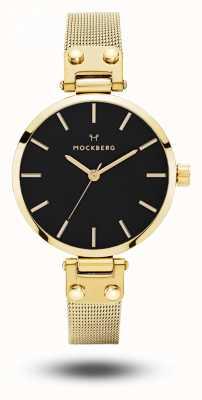 Mockberg Livia das mulheres petite noir pulseira de malha de ouro mostrador preto MO403
