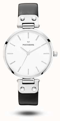 Mockberg Astrid preto pulseira de couro branco mostrador das mulheres MO1002
