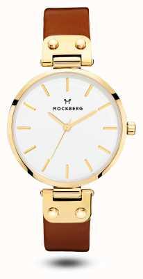 Mockberg Mostrador branco com pulseira de couro marrom ilse feminino MO108