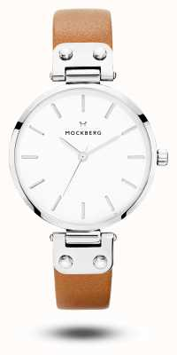 Mockberg Mostrador branco com pulseira de couro marrom wera das mulheres MO1006