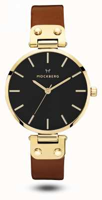 Mockberg Ilse preto, pulseira marrom mostrador preto das mulheres MO114