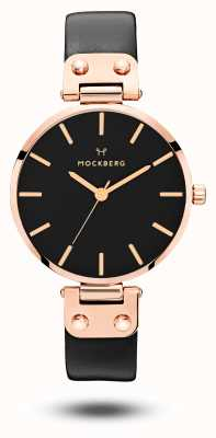 Mockberg Sigrid black rose gold pvd banhado a pulseira de couro preto MO110