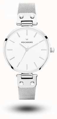 Mockberg Elise pulseira de malha de aço inoxidável mostrador branco MO1602