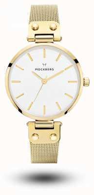 Mockberg Livia das mulheres ouro pvd banhado malha pulseira mostrador branco MO1601