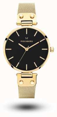 Mockberg Livia noir ouro pvd banhado malha preta dial MO1603