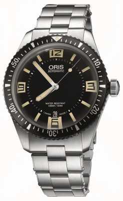 Oris Divers sessenta e cinco discagem automática de aço inoxidável preto 01 733 7707 4064-07 8 20 18