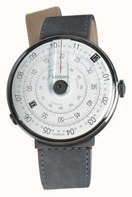 Klokers Klok 01 preto relógio cabeça cinza alcantara estreito cinta única KLOK-01-D2+KLINK-04-LC11