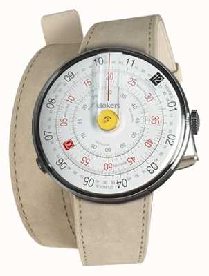 Klokers Klok 01 amarelo relógio cabeça cinza alcantara 420mm dupla alça KLOK-01-D1+KLINK-02-420C6