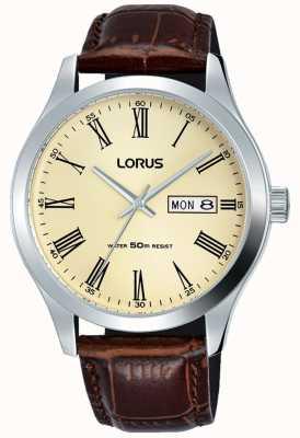 Lorus Caixa de aço inoxidável pulseira de couro números romanos creme RXN53DX9