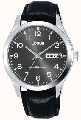 Lorus Mostrador de data e data de mostrador cinza com pulseira de couro preto RXN59DX9