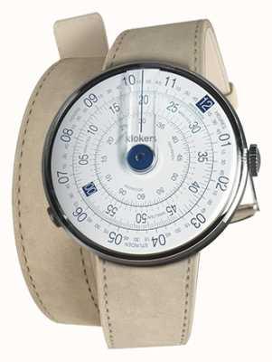 Klokers Klok 01 relógio azul cabeça cinza alcantara dupla alça KLOK-01-D4.1+KLINK-02-380C6