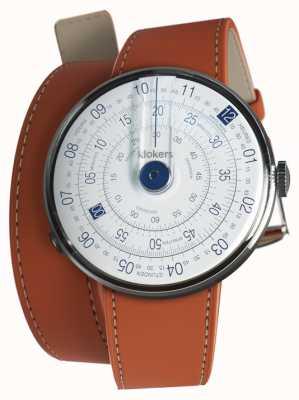 Klokers Klok 01 relógio azul cabeça laranja 420mm dupla alça KLOK-01-D4.1+KLINK-02-420C8