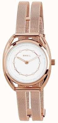 Breil Petit rosa ouro pvd aço inoxidável prata conjunto de discagem de cristal TW1653
