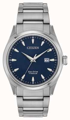 Citizen Pulseira de titânio de titânio azul tom de prata super masculino BM7360-82L