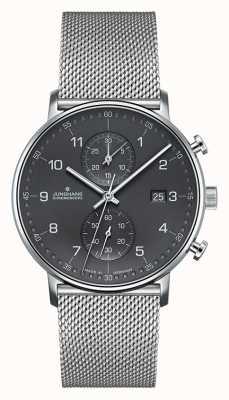 Junghans Bracelete de malha em prata para cronógrafo para homem c 041/4877.44